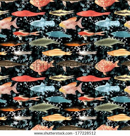 Fish diversity seamless hand drawn illustration - stock photo