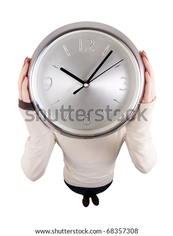 Fish eye view of a girl (face not visible) holding a round clock at her head's height. Isolated on white. - stock photo