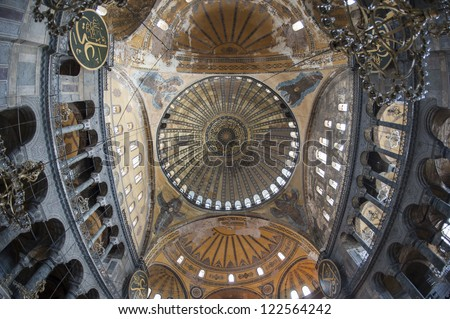 Fish-eye view of the interior architecture in Hagia Sophia museum at Istanbul Turkey