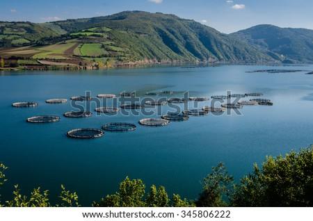 Fish farms on the Kizilirmak River - stock photo