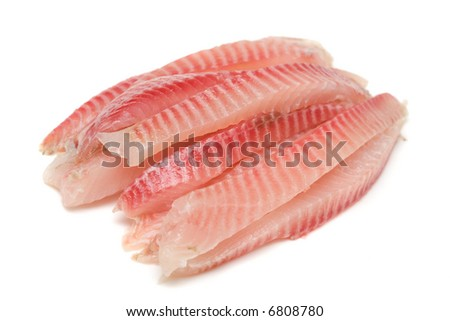 Fish fillet. Image series of different food on white background - stock photo