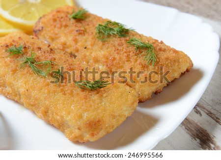Fish fillets with chese - stock photo