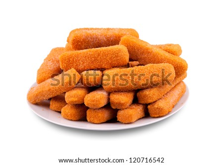 Fish fingers on a plate - stock photo