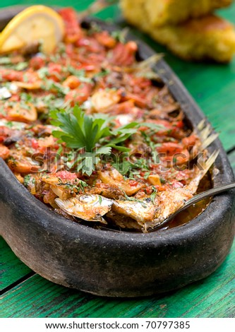 fish food in a hot pot - stock photo