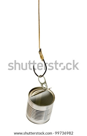 fish hook catch empty tin can on white background - stock photo