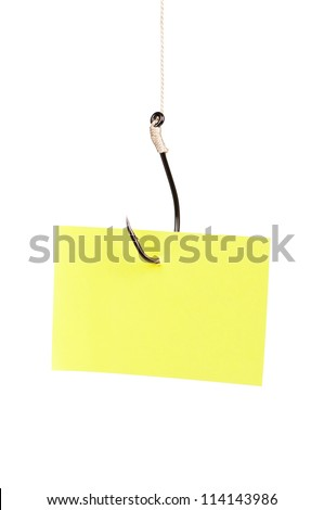 Fish hook with blank note paper isolated on white background - stock photo