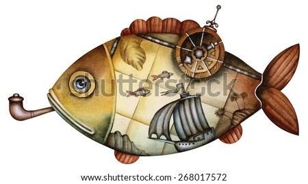 Fish in the form of an ancient map - stock photo