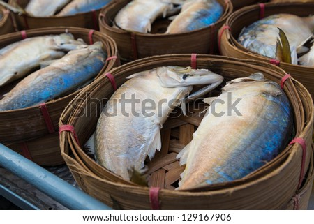 fish in the street market from thailand. - stock photo