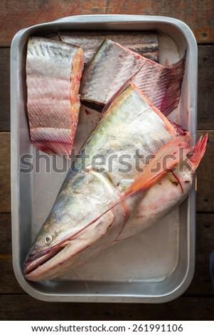 fish in tray - stock photo