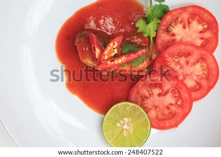 fish mackerel sauce on white background - stock photo