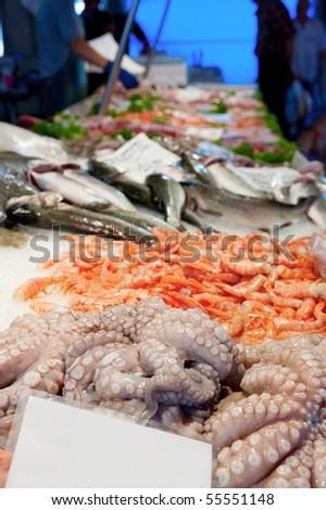 Fish Market in Venice Italy - stock photo