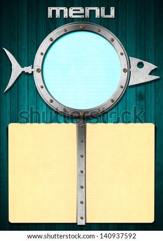 Fish Menu with Metal Porthole / Restaurant fish menu with metal porthole and yellow empty pages  - stock photo