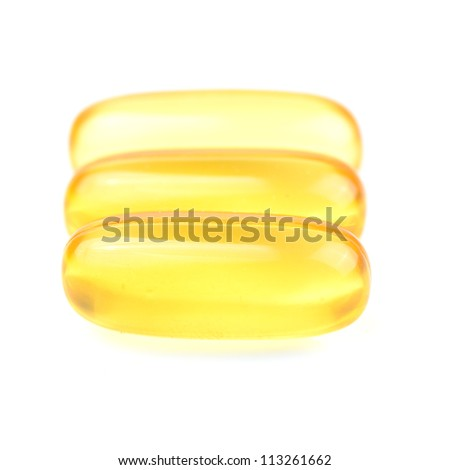 Fish oil capsule isolated on white. - stock photo