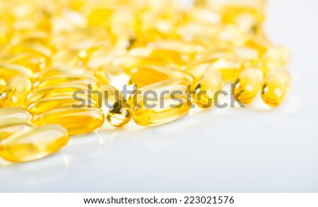 Fish oil omega 3 gel capsules isolated on white background
