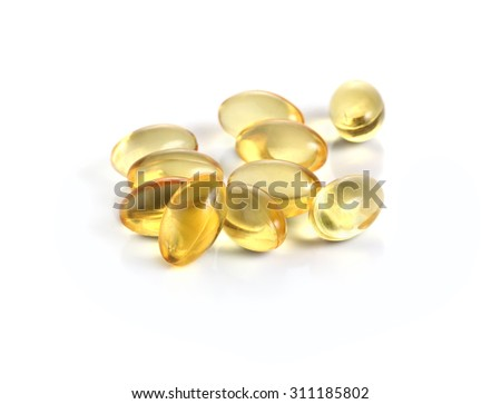 fish oil omega 3 gel capsules on a white background - stock photo