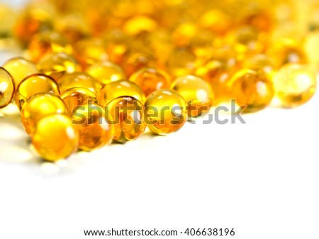 fish oil on a white background