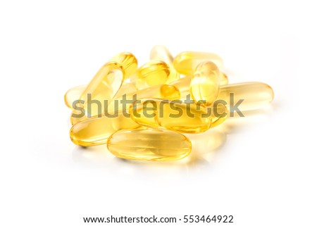 fish oil on white background