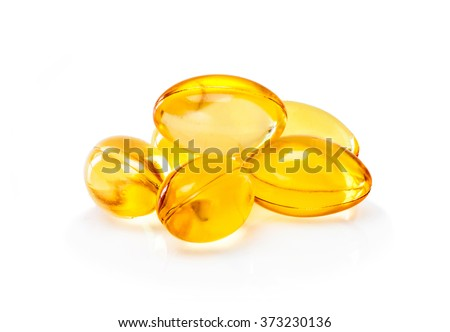 Fish oil supplement capsule isolated on white background - stock photo