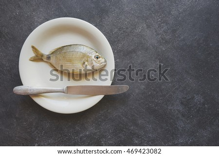 Fish on a white plate, on cement background