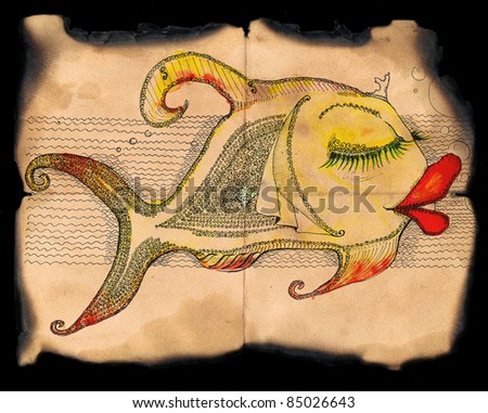 fish on vintage background/ water collor illustration - stock photo