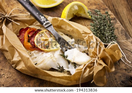 fish oven baked - stock photo