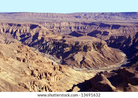 Fish River Canyon Namibia Africa - second largest canyon on earth - stock photo