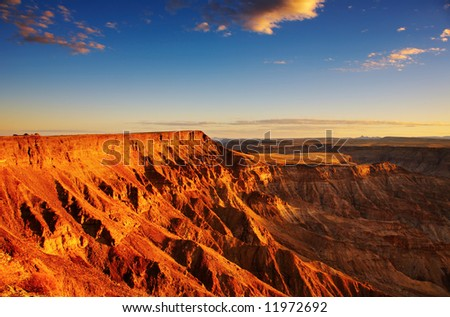 Fish River canyon- the second largest canyon in the world, South Namibia - stock photo