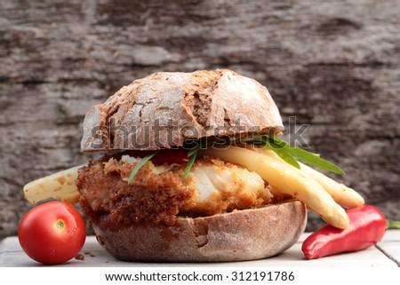 fish sandwich - stock photo