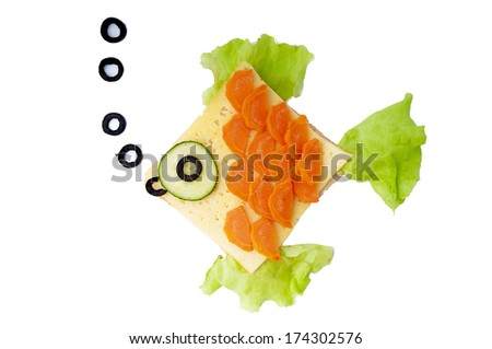 Fish sandwich for child - isolated on white background. - stock photo