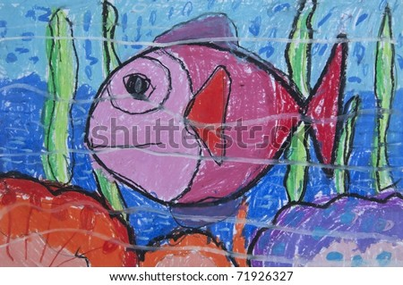 Fish sea as free hand drawing from color crayon techniques from 5 years old Thai young artist illustrated children are learning kind - stock photo