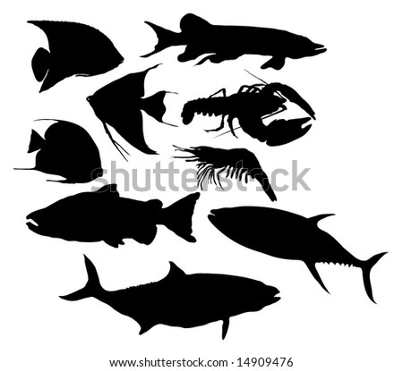 Fish / Seafood silhouettes - stock photo