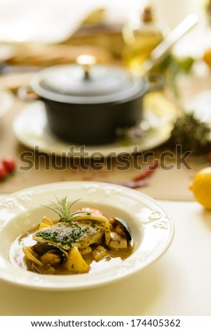 fish soup in plate - stock photo