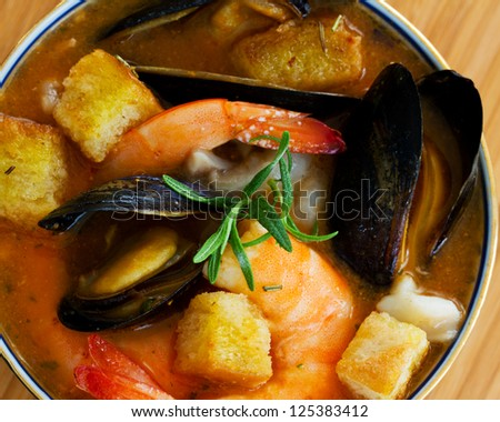 Fish soup - Traditional Asian fish soup - stock photo