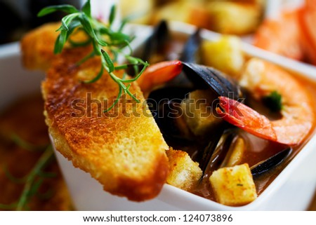 Italian food stock images royalty free images vectors for Fish and shrimp soup