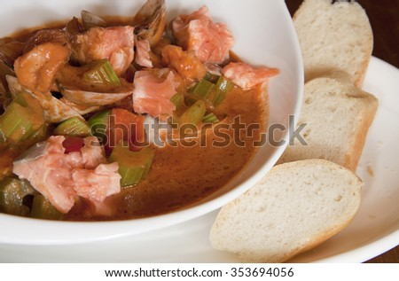 fish soup with salmon - stock photo