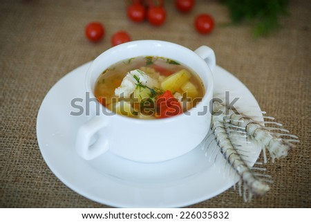 fish soup with vegetables on the plate on the table - stock photo
