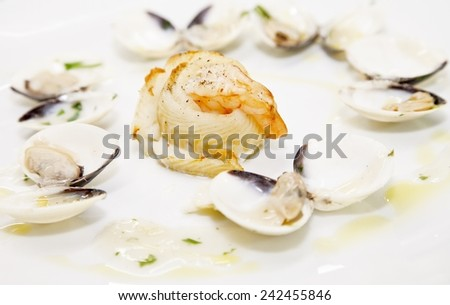 Fish specialty served in restaurant - stock photo