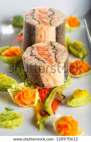 Raw salmon fish steak ingredients like stock photo for Christmas fish starters