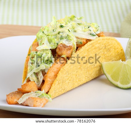 Fish taco topped with coleslaw and lime slices - stock photo
