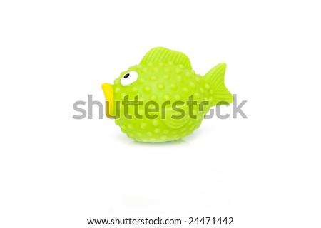 fish toy isolated on white - stock photo