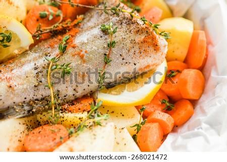 fish with potato - stock photo