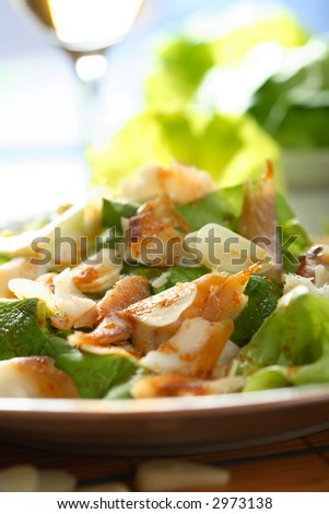 Fish with salad - stock photo