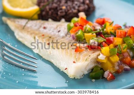 fish with salsa salad - stock photo