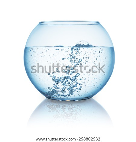 fishbowl with hot water isolated on white background - stock photo