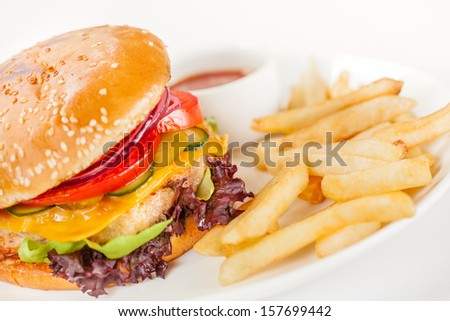 Fishcake Sandwiches on white background - stock photo