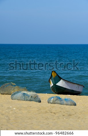 fisher boat in Chennai, India - stock photo