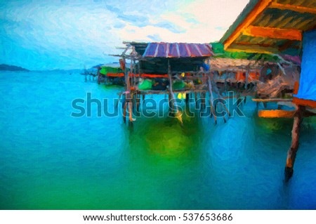 Fisher man bamboo hut in south sea of Thailand, digital oil paint effect.