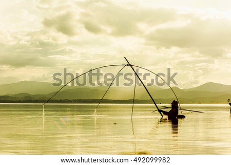 Fisherman use square dip net fishing stock photo 549082624 for Dip nets for fishing