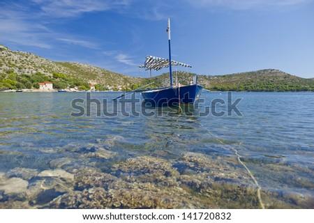 Fisherman boat at Skrivena Luka, Lastovo, Croatia. - stock photo