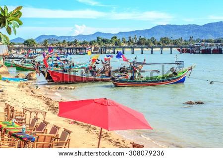 fisherman boats parking at Big Buddha pier - stock photo